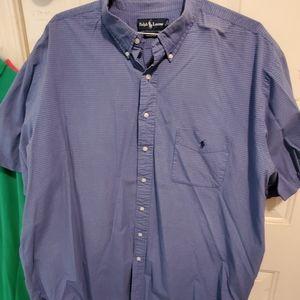 Polo Men's blue cotton short sleeve shirt